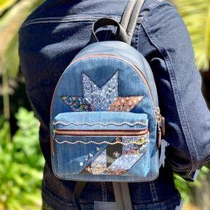 Coach Mini Charlie Star Denim Patchwork Backpack